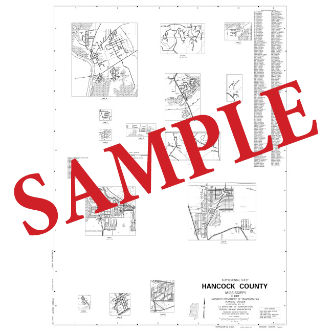 36x48 County Public Roads Maps with Supplemental Sheet